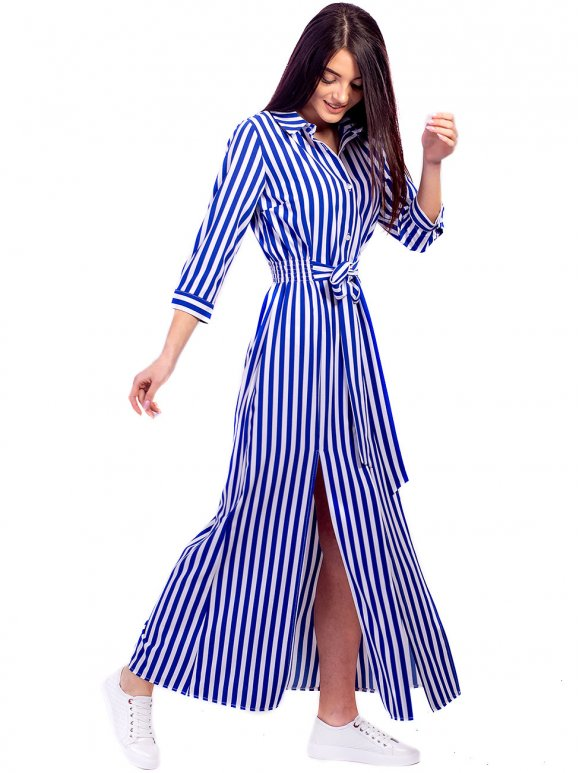 длинное платье-рубашка в полоску фото