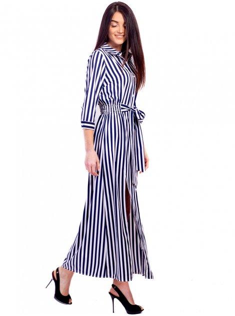 Длинное платье-рубашка в полоску 2651