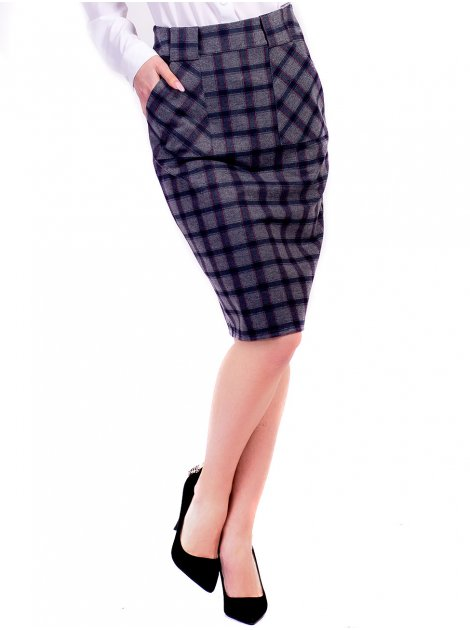 Стильная клетчатая юбка с карманами 2612