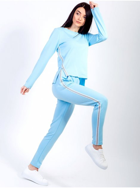 Стильный костюм с трендовой полоской по бокам 2656