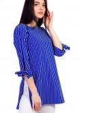 Удлинённая блуза в полоску с завязками на рукавах 2664