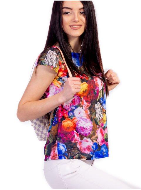 Легкая футболка из ткани с ярким принтом 2366