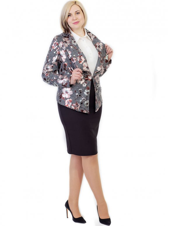 Пиджак size+ с геометрическим узором и фольгированными цветами 2674