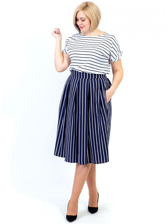 Костюм size+: юбка со складками + стильная блуза 2690