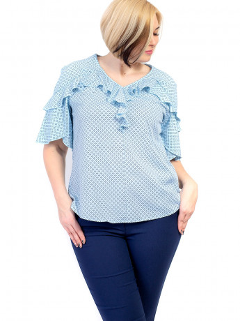 Оригінальна блуза size+ з рюшами 2673