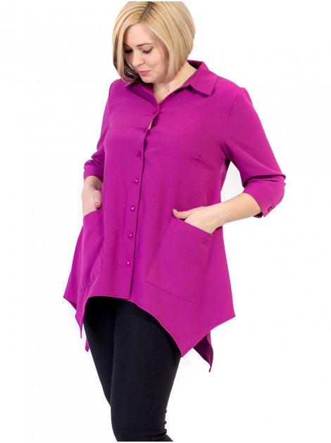 Блуза size+ с фигурным низом и удобными карманами 2660