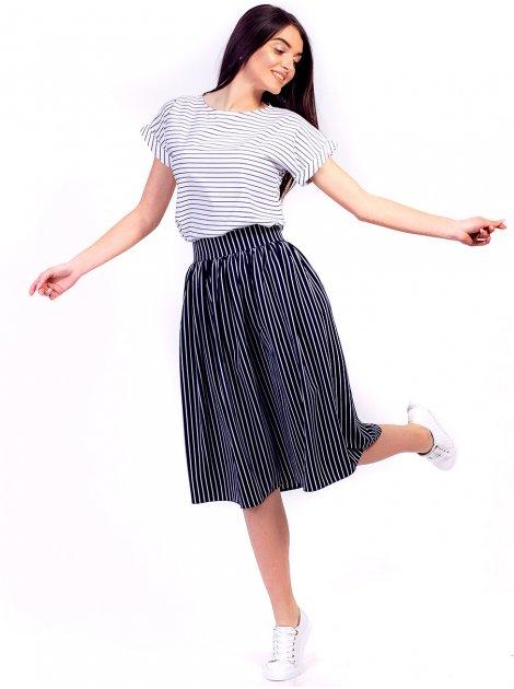 Костюм в полоску: юбка на поясе + лёгкая блуза 2657