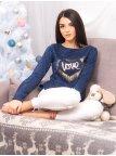 Трикотажный свитер с блестящим принтом. Арт.2144