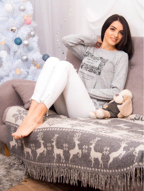 Трикотажный свитер с принтом спереди. Арт.2137