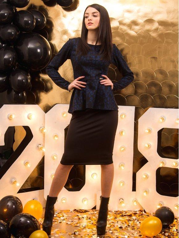 Комбинированный костюм: кофта с баской + юбка. Арт.2150