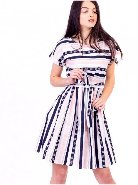 Платье в полоску с поясом 2636