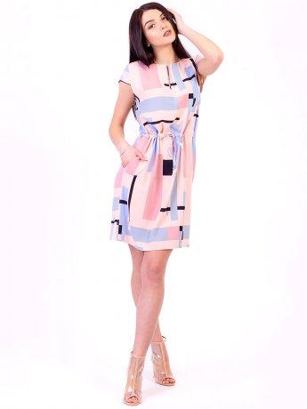 Платье на кулиске с удобными карманами 2676