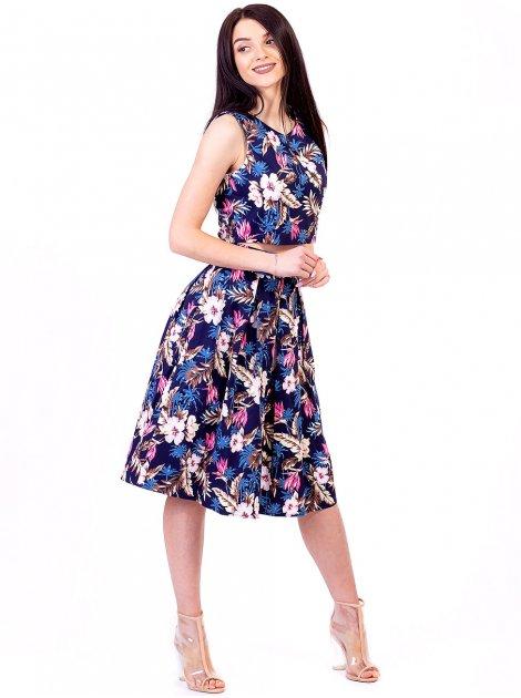 Комплект: топ с тропическим принтом + юбка А-силуэта со складками 2687