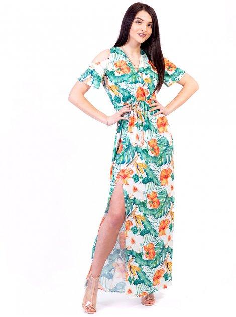 Длинное платье в цветочный принт с вырезами на плечах 2607