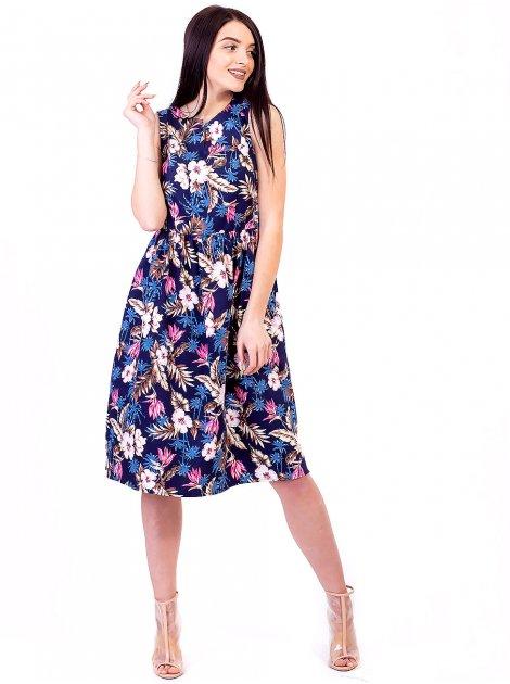 Легкое платье из ткани с тропическим принтом 2686