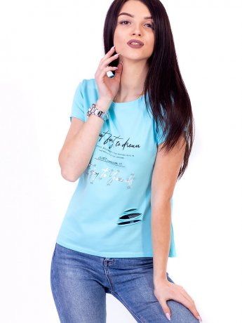 Яркая футболка с принтом и жемчугом 2693