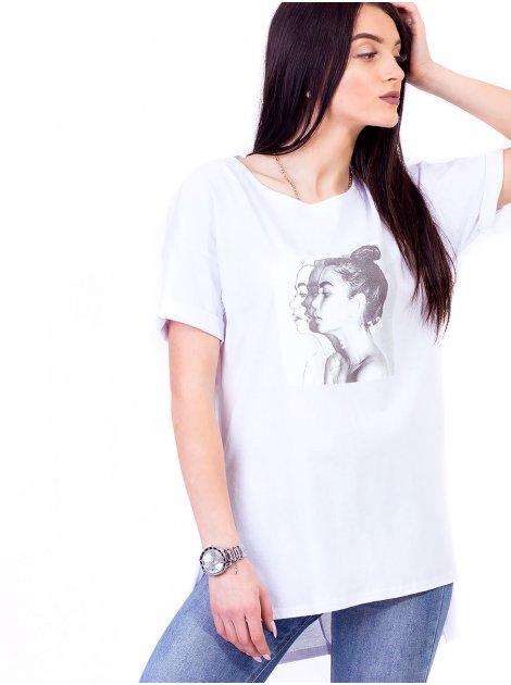 Стильная футболка с удлиненной спинкой и принтом 2692