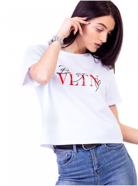 Укороченная футболка со стильным принтом 2691