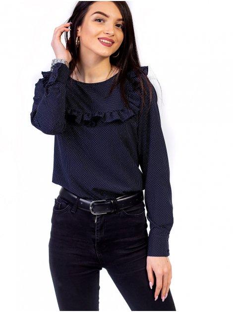 Блуза в горошек с рюшей на кокетке 2662