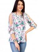 Блуза в цветочный принт с вырезами на плечах 2609