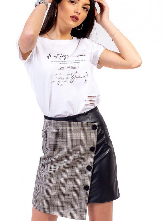 Комбинированная юбка, украшенная пуговицами 2698