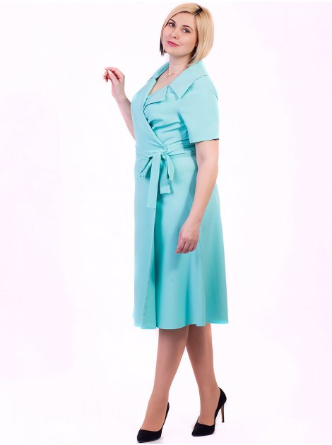 Платье size+ с поясом и воротником пиджачного типа 2702