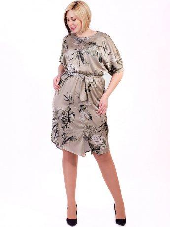 Оригинальное платье size+ в тропический принт 2684