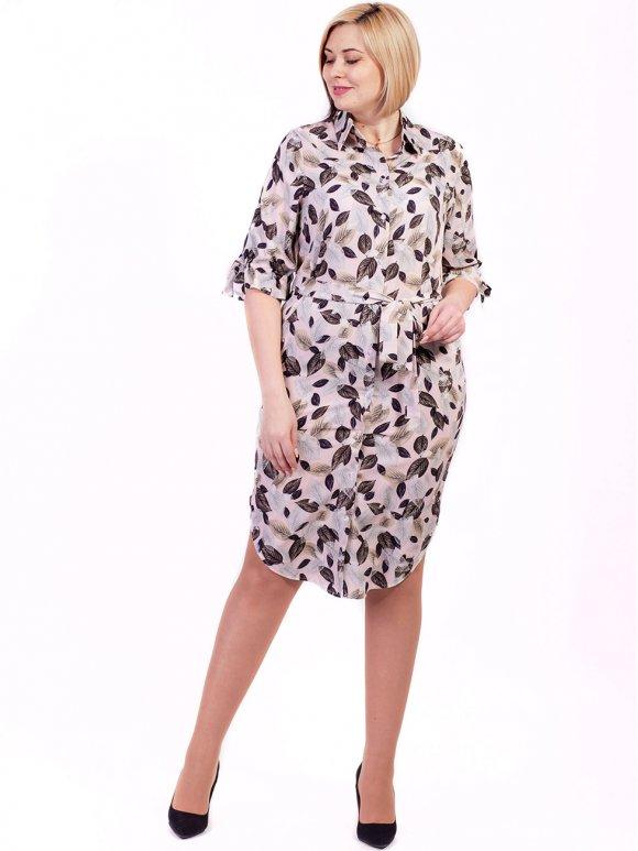 Красивое платье-рубашка size+ с поясом и завязками на рукавах 2704
