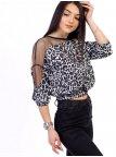 Укороченная комбинированная блуза с анималистическим принтом и сеткой 2723
