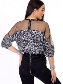 Укороченная блуза с анималистическим принтом и сеткой 2723