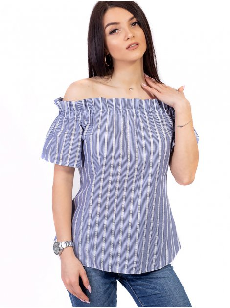 Блуза в полоску с поясом и открытыми плечами 2643
