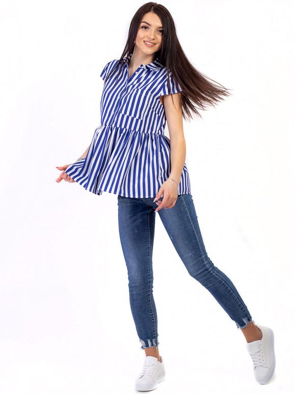 Смугаста блуза-сорочка з баскою 2677