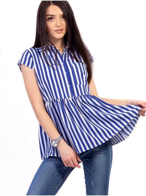 Полосатая блуза-рубашка с баской 2677