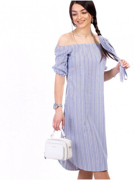 Платье с полукруглым низом и открытыми плечами 2697