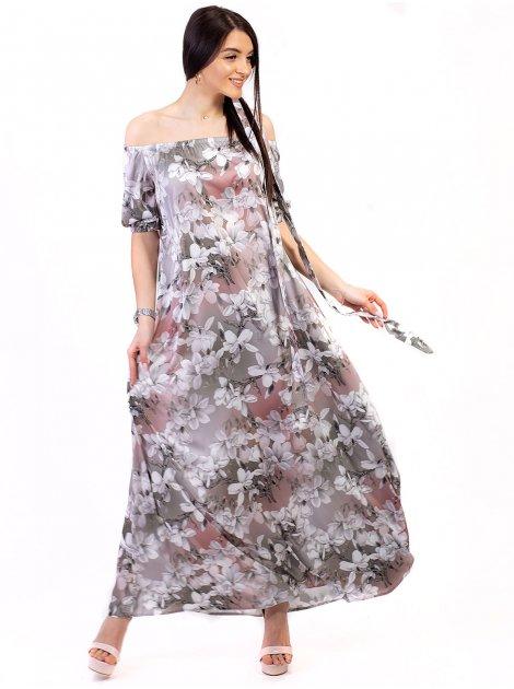 Платье в пол с открытыми плечами 2688