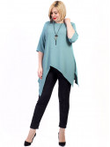 Блуза size+ с асимметричным низом и кулоном 2714