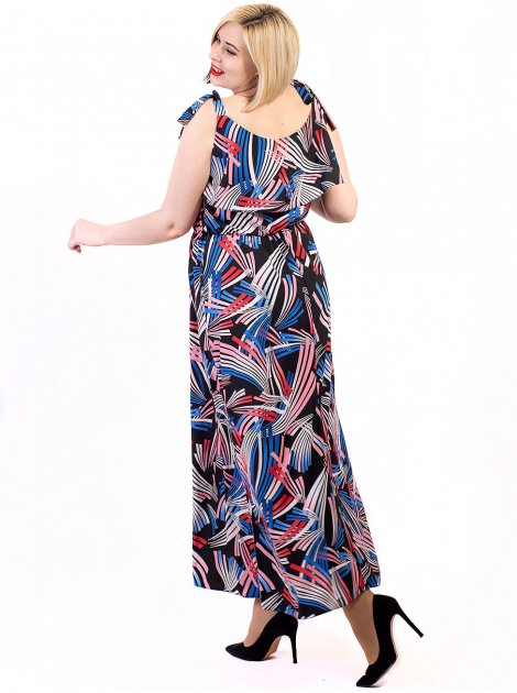 Платье size+ с брителями на завязках и воланом 2705