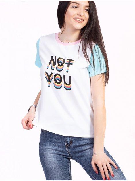 Комбинированная футболка с принтом 2734