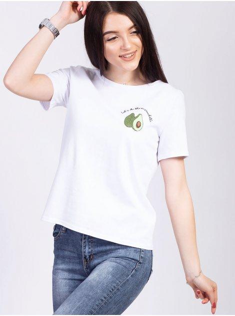 Трендовая футболка со стильной вышивкой 2733