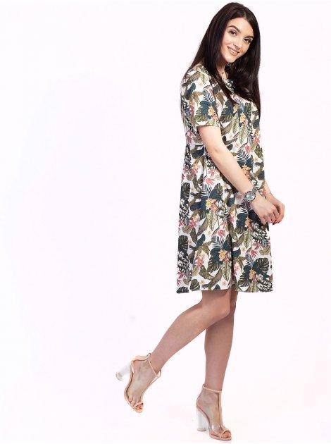 Женственное платье с тропическим принтом 2721