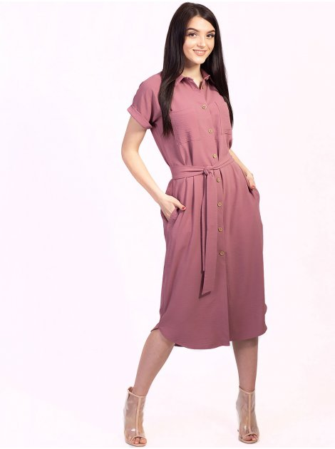 Красивое платье-рубашка с полукруглым низом 2739