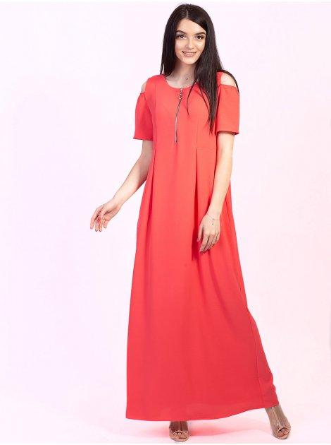 Довга сукня на блискавці і з вирізами на плечах 2737