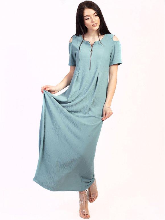Длинное платье на молнии и с вырезами на плечах 2737
