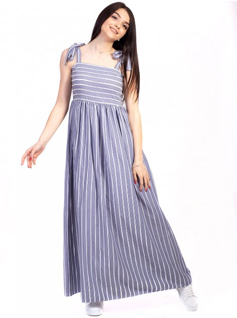 Длинное платье в полоску на завязках 2744
