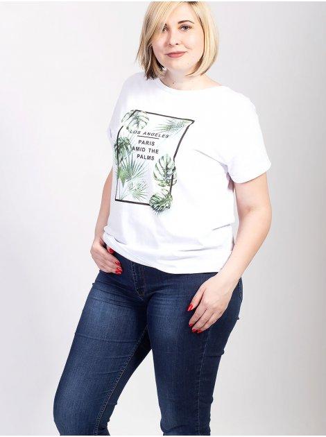 Белая футболка size+ с тропическим принтом 2719