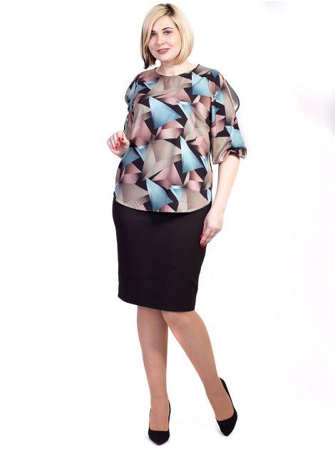 Легкая блуза size+ с геометрическим принтом 2727