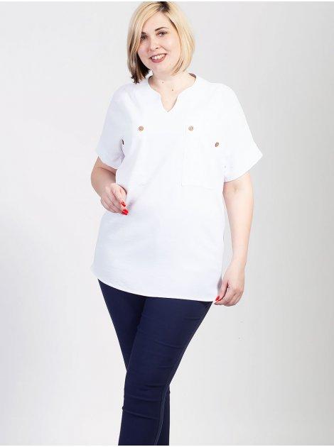 Блуза size+ с оригинальными карманами 2713