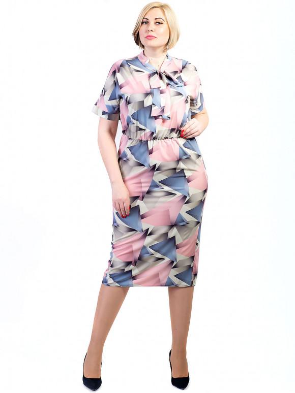 Сукня size+ з геометричним принтом і зав'язкою бантом 2726