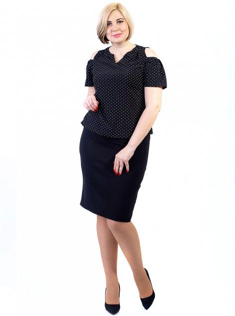 Блуза size+ в горошек с вырезами на плечах 2683