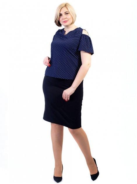 Блуза size+ в горошок з вирізами на плечах 2683